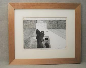 Vintage Etching, Human Figures, Feet, Coffee Cup, Framed Original Fine Art