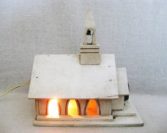 Vintage Christmas Church, Miniature Building, Lamp Lit with Music Box Feature