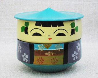 Vintage Kokeshi Bento Box, Asian Lunch Box, Japanese, Made in Japan
