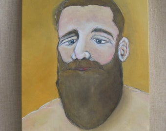 Male Portrait, Paintings of Men, with Beards, Original Fine Art, Gallery Wrapped Canvas, Hand Painted