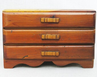 Vintage Jewelry Box, Miniature Dresser, Doll Furniture, Storage Chest, Office Organization