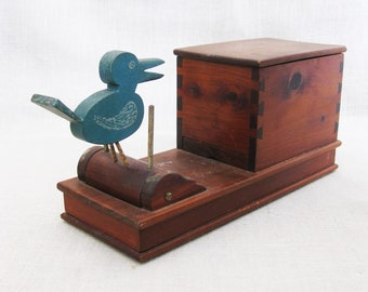 Vintage Cigarette Dispenser, Blue Bird, Wooden Box, Storage, Organization, Rustic Cabin Decor, Tobacciana