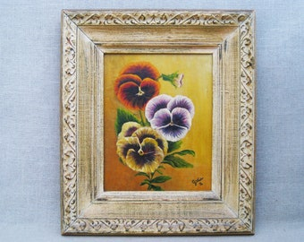 Vintage Flower Painting, Pansies, Framed Original Fine Art