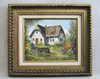 Vintage House Painting, Kurt Moser Landscape, Country Cottage, Framed Original Fine Art Wall Decor