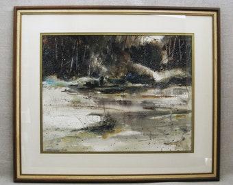 Vintage Landscape, Watercolor Painting, Winter Scenery, Catherine Garnes Heintz, Framed Original Fine Art
