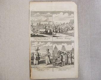 Antique Engraving, John Harris, Male Portrait, Mongolia, Siberia, Navigantium atque Itinerantium bibliotheca