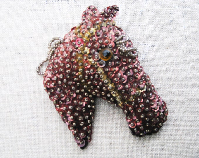Featured listing image: Vintage Horse Brooch, Sequin and Beaded Horse Head Pin