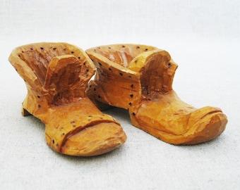 Vintage Wooden Shoes, Folk Art Carving, Boot Sculpture, Miniature Shoes, Primitive Rustic Decor