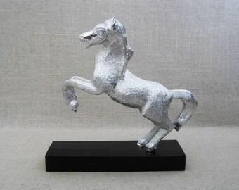 Vintage Horse Sculpture, Metal Art Statue, Equestrian Figure, Folk Art