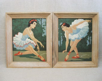 Vintage Ballerina Paint By Number Companion Set, Framed Hand Painted Wall Decor