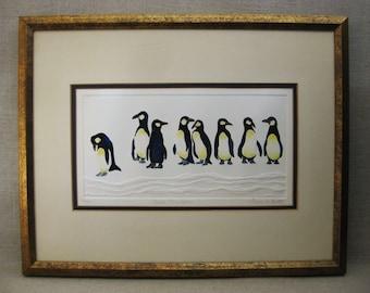Vintage Penguin Art, Watercolor Painting, Laura M Batt, Framed Original Fine Art