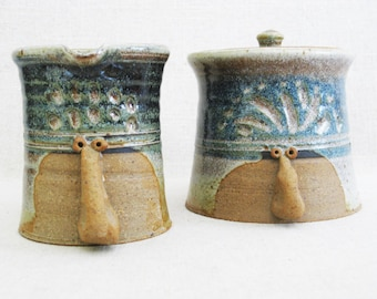 Vintage Face Mug, Sugar and Creamer, Folk Art Pottery, Fine Art Ceramics