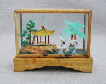 Vintage Asian Shadow Box Diorama, Landscape Scene