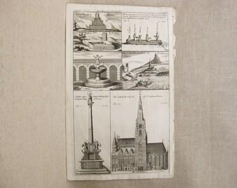 Antique Engraving, European Architecture, Dr. Bron's Travels, Eastern Europe, Vienna, 18th Century Bookplate