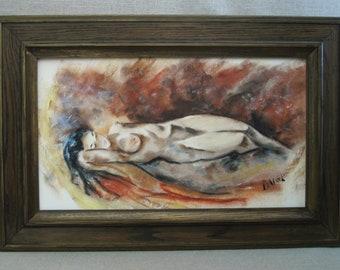 Vintage Nudes, Female Portrait, Framed Original Fine Art, Mid-Century Art, Pastel Drawing