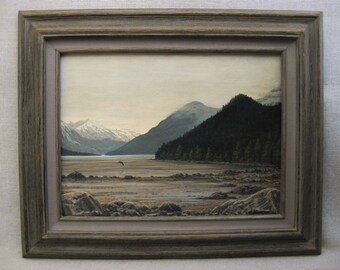 Vintage Landscape Painting, Mel Garbark, Framed Original Fine Art, Nature and Wildlife Artist