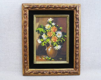 Vintage Flower Painting, Floral Still Life, Framed Original Fine Art, Cottage Decor