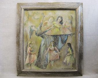 Vintage Female Dancer Painting, Framed Original Fine Art