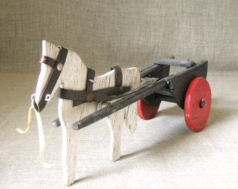 Vintage Primitive Wooden Folk Art Horse and Carriage Toy, Handmade, Transportation, Farm, Equestrian, White, Equine, Animals, Rustic