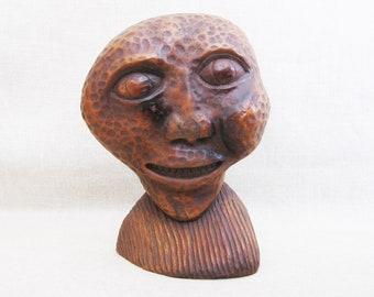Vintage Male Portrait Folk Art Alien Carving, Primitive Wood Sculpture, Outer Space Man