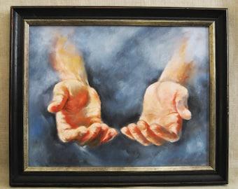 Vintage Helping Hands Painting, Framed Original Fine Art Wall Decor, Mens Hands