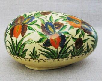 Vintage Paper Mache Egg Shaped Trinket Box, Floral Motif, Easter Decor, Large 6 inch, Storage, Organization