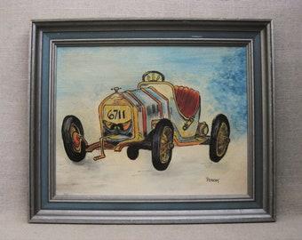 Vintage Racecar Painting, Framed Original Fine Art