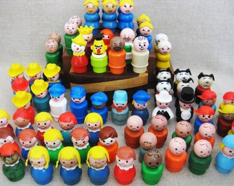Vintage Fischer Price Little People Lot, Small Dolls, 68 Pieces