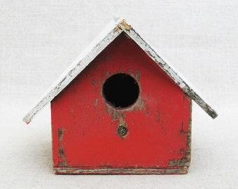 Vintage Bird House, Folk Art, Handmade Rustic Cabin Decor