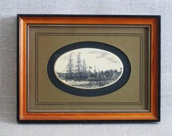 Vintage Scrimshaw, Barlow Design, Barque 3 Masted Ship, New England Style Wall Decor, Coastal Decor
