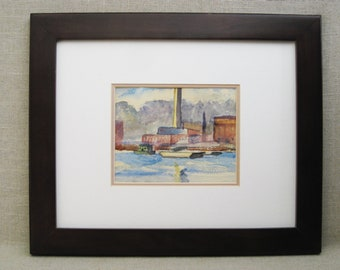 Vintage Landscape Watercolor Painting, Architecture, Framed Original Fine Art