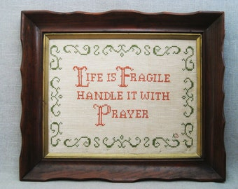 Vintage Cross Stitch, Framed Religious Inspirational Wall Decor