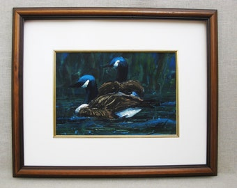 Vintage Art, Duck Watercolor Painting, Framed Original Fine Art, Nature, Bird Art
