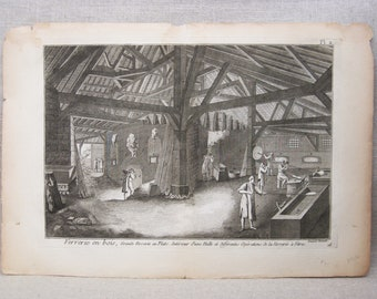 Antique Engraving, Robert Bernard, European Prints, Interior Architecture, Glassware Shop, 18th Century