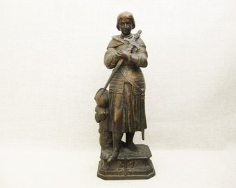 Vintage Female Portrait Statue of Joan of Arc, Antique Sculpture, Bronze Finish Female Figures
