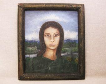 Vintage Female Portrait Painting, Rev. Joel D Hewlett, African American Folk Art, Framed Original Fine Art