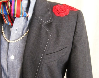 Vintage Womens Blazers, Gray Jacket, Size 6, Embellished, Upcycled,Wool,Hand Embroidered