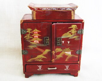 Vintage Japanese Red Lacquer Jewelry Box, Small Chest, Made in Japan