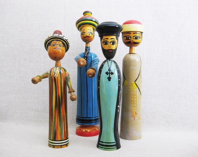 Featured listing image: Vintage Male Portrait Wooden Pin Dolls, Egyptian Figures, Middle Eastern Toys