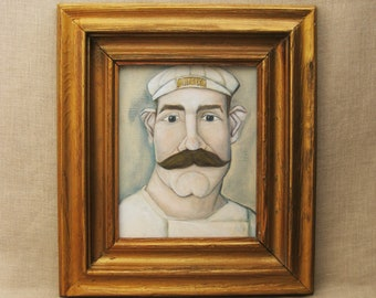 Male Portrait Painting, Original Fine Art, Framed, Mustache, Men in Hats