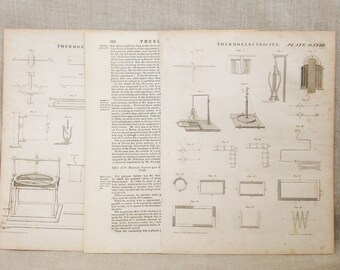 Antique Industrial Thermo-Electricity Engravings, Edinburgh Book Plates, Moffat, Mechanical Illustration