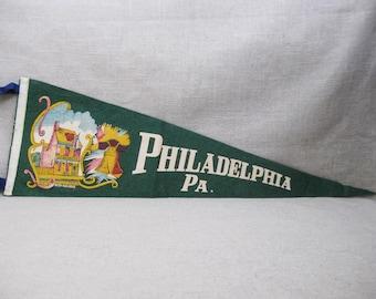 Vintage Pennant Flag, Philadelphia, Pennsylvania, Souvenir, Felt