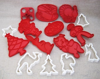 Vintage Cookie Cutter Holiday Collection, Tupperware Plastic Baking Tools