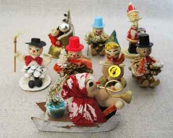 Vintage Christmas Ornament Collection, Pine Cone Snowmen, Holiday Decor