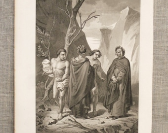 Antique Religious Art, Book Plate, Print, Religion, Purgatorio Carlo V, Ephemera, Male Portrait, Portraiture,Wall Decor,Biblical,Bible Story