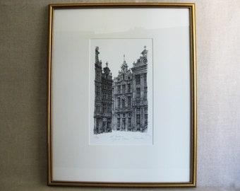 Vintage Architectural Print, Framed Original Fine Art