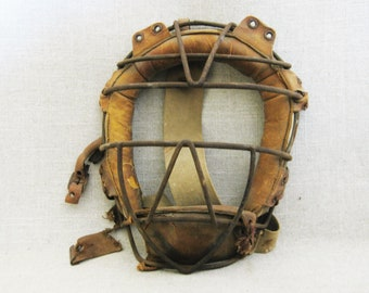 Vintage Catchers Mask, Antique Baseball Equipment, Sporting Goods, Man Cave Decor