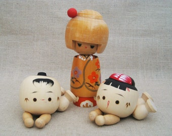 Vintage Kokeshi Doll Collection, Family of Wooden Japanese Folk Art Doll, Male and Female Baby Pair