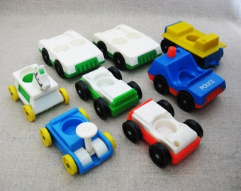 Vintage Fisher Price Little People Cars and Toys with Wheels, 9 Pieces