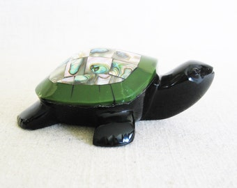 Vintage Turtle Paperweight, Onyx Stone Animal, Abalone Shell, Turtle Figurine